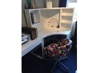 White ikea office desk & multicolour chair GREAT CONDITION