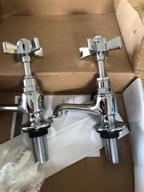 "Brand new chrome premium 1/2"" basin taps pair"