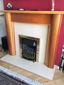 Fireplace fire surround and marble back panel.