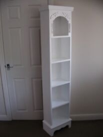 White Tall Shelving Bookcase Storage Shelves Unit Hand Painted Solid Pine Wooden