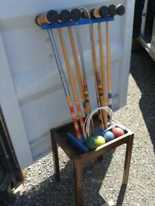 Oakville CROQUET SET Summer Lawn Game Wood 6 Mallets 4 Balls 5 Hoops