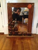 authentic mexican wood mirror, decorative frame