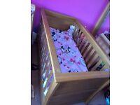 Mamas & papas signature oak sleigh cot bed