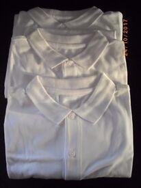 (F&F, TESCO) Boys White Polo shirts x 3 BRAND NEW 13-14 Years