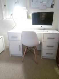 White Modern wooden nearly new pedestal desk, bargain, collect from City centre! MUST GO!