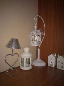 CAN DELIVER 5 tealight holders candle shabby chic bird cage cream white stars heart ornaments