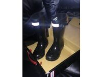 Hunter wellies black gloss junior size 10