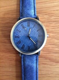 Watch With Denim Look Strap Great Christmas Present!