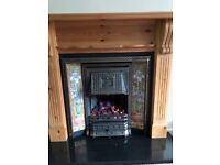 Victorian gas fire with pine surround and black marble hearth
