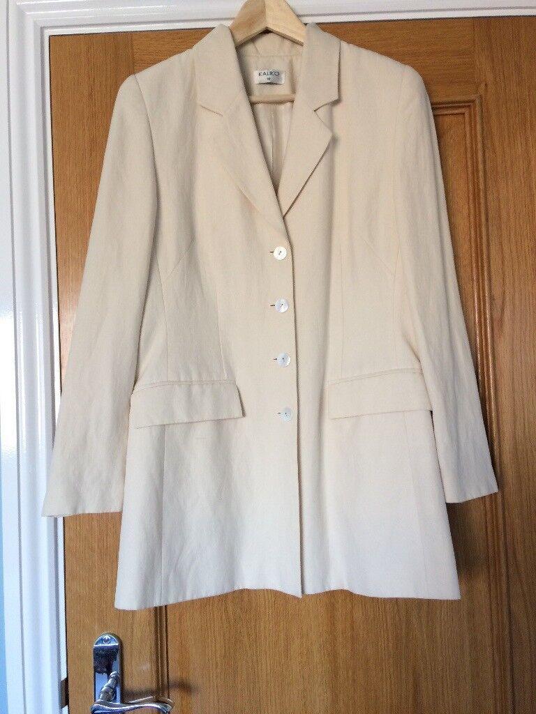 Kaliko cream silk and linen jacket Size 10