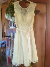 As new, lace and beaded yellow dress, Kaliko