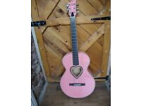 Pink Acoustic 3/4 Guitar,With Gig Bag.