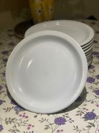 """11x Tuxton Plain Large Heavy White Catering Plates - 10.5"""" Inches/27cm"""