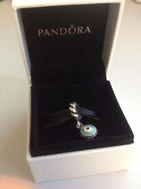 Genuine Pandora Silver Blue Enamel Evil Eye Charm