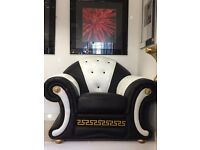 Versace Leather Armchair Black/White