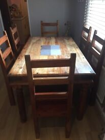 Vintage Solid wood Indonesian teak dinning table + 6 chairs and coffee table