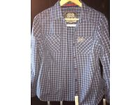 Superdry blue and white check shirt