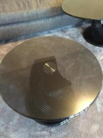Solid glass coffee table and side table