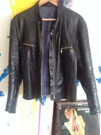 Vintage leather jacket cafe racer style Size M-L
