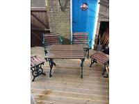 Patio garden wooden cast iron garden table and chairs