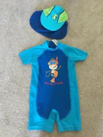 12-24 month baby/toddler swim suit with hat
