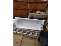 Bath and side panel with taps£50 also bathroom sink and Pedestal £40