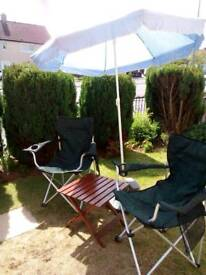 Garden folding chairs 2 of with parasol stand and small folding table