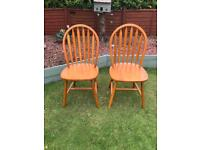Pair beech dining chairs (can deliver)