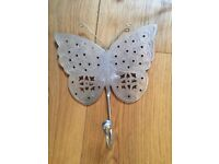 New Metal Butterfly Coat Hook Clothes Hook 19cm x 16cm Bedroom Nursery Hall Cut Out Detail