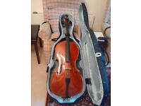 Stentor Conservatoire 3/4 cello outfit fitted £600 o.n.o with piastra strings + bow + hard/soft case