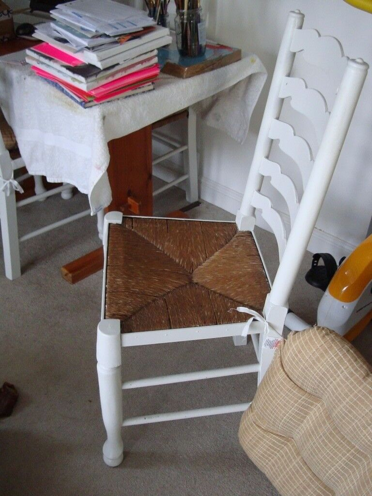 Set of 4 Vintage Painted Rush Seated Chairs