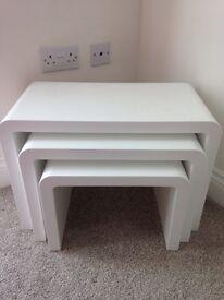 High gloss white nest of tables