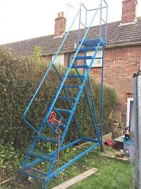 Retail safety ladder 12ft tall with brake & wheels