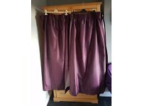 x2 pairs Nova Blackout pencil pleat curtains - Aubergine
