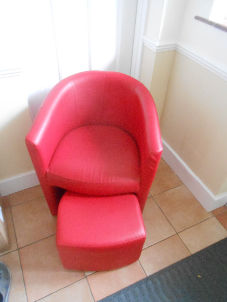 red plastic tub chair for sale with foot stool . | in Bromley ...