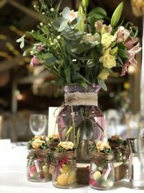 Pink Flower Vase, With Burlap and String