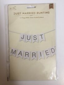We Do 'JUST MARRIED' Bunting with Silver Foil Letters