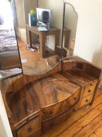 Large wooden dressing table with mirror