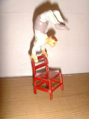 VERY RARE VINTAGE PRE-WAR LEAD HOLLOWCAST CHARBENS CIRCUS ACROBAT ON CHAIR