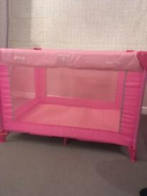 Pink hauck travel cot play pen