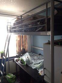 Metal Cabin Mid Sleeper Loft 6 ft Single Bed Optional Mattress