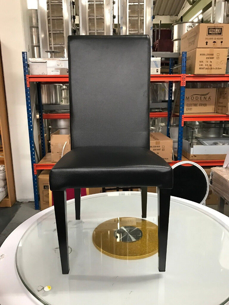 New Black Leather Chairs With Metal Legs