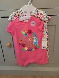 Tesco baby girl rompers - up to 3 months