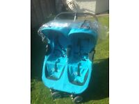 Blue city micro double buggy with rain cover