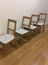 Chairs wooden x6, with cream seat pads. 90cm high,