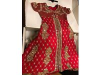 Red and navy wedding lengha