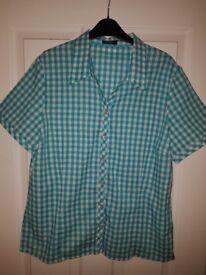 Womens Blue Checkered Shirt Size 18