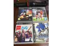 PS3 games F1 , fifa ,sonic , sing star and microphones