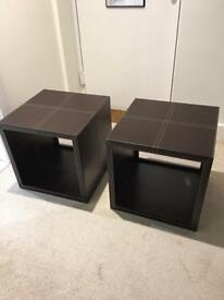 Brown Leather Cube tables