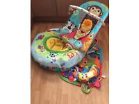 Bouncy vibrating baby seat/baby ring and floor gym
